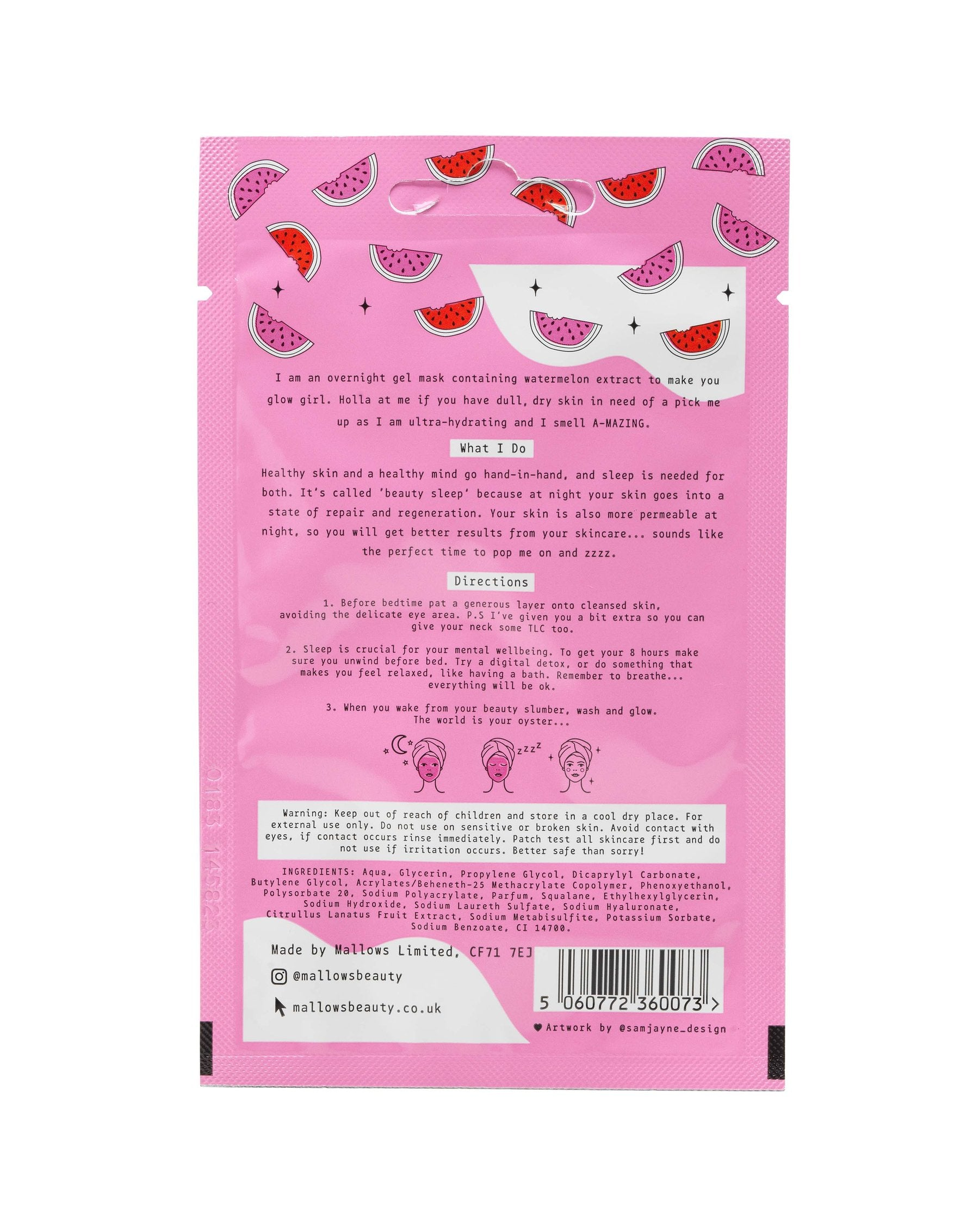 Watermelon Overnight Gel Mask Individual Sachet