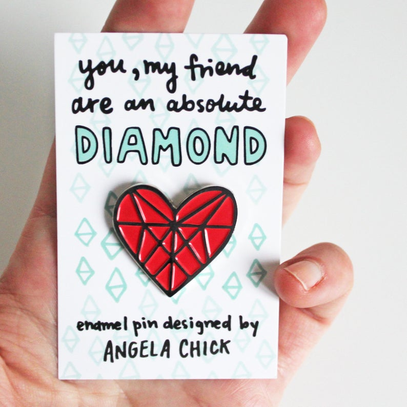 Diamond Heart Enamel Pin