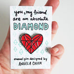 Load image into Gallery viewer, Diamond Heart Enamel Pin