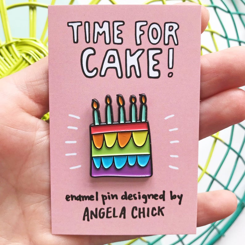 Time for Cake! Rainbow Birthday Cake Pin
