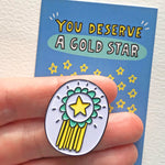 Load image into Gallery viewer, Enamel Pin You Deserve a Gold Star