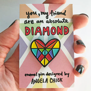 Enamel Pin Rainbow Diamond Heart Pin for diamond friend