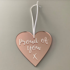 Personalised Rose Gold Mirrored Hearts