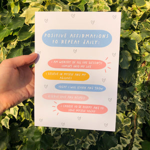 A5 Print Positive Affirmations To Repeat Daily