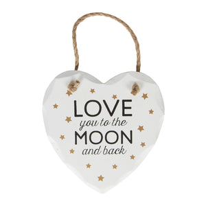 Plaque Love You to the Moon Golden Stars Heart