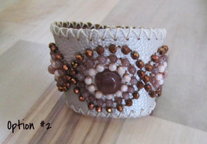 Thai Leather Beaded Snap Cuff by Bali Queen