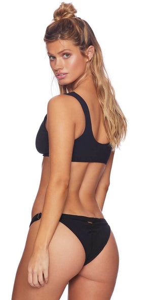 Beach Bunny Rib Tide Knot Bikini Top in Black