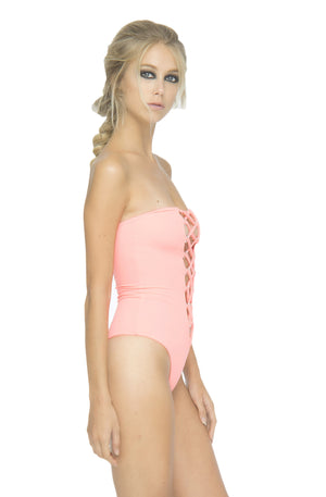 INDAH Pip Lace Up Bandeau One Piece In Punch