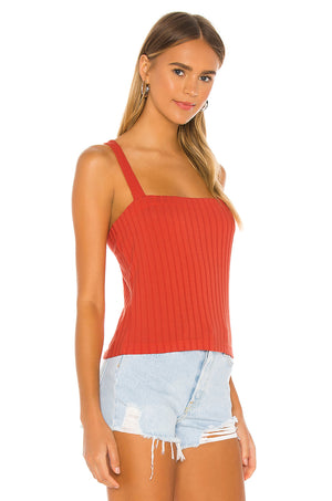 Chaser Poor Boy Rib Cross Back Tank with Ring