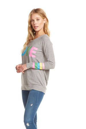 Chaser Rainbow Stripe Love Knit Pullover