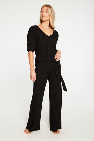 Chaser Poor Boy Rib Belted Wide Leg Pant