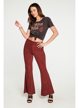 Chaser Faux Suede Wide Leg Pant in Biscotti