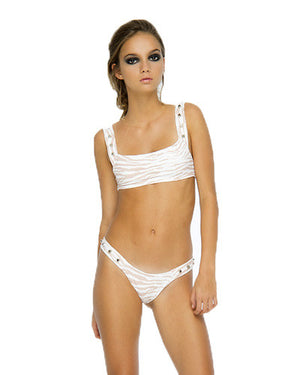INDAH Mona Studded Top & Delila Bottom Bikini in White Tiger