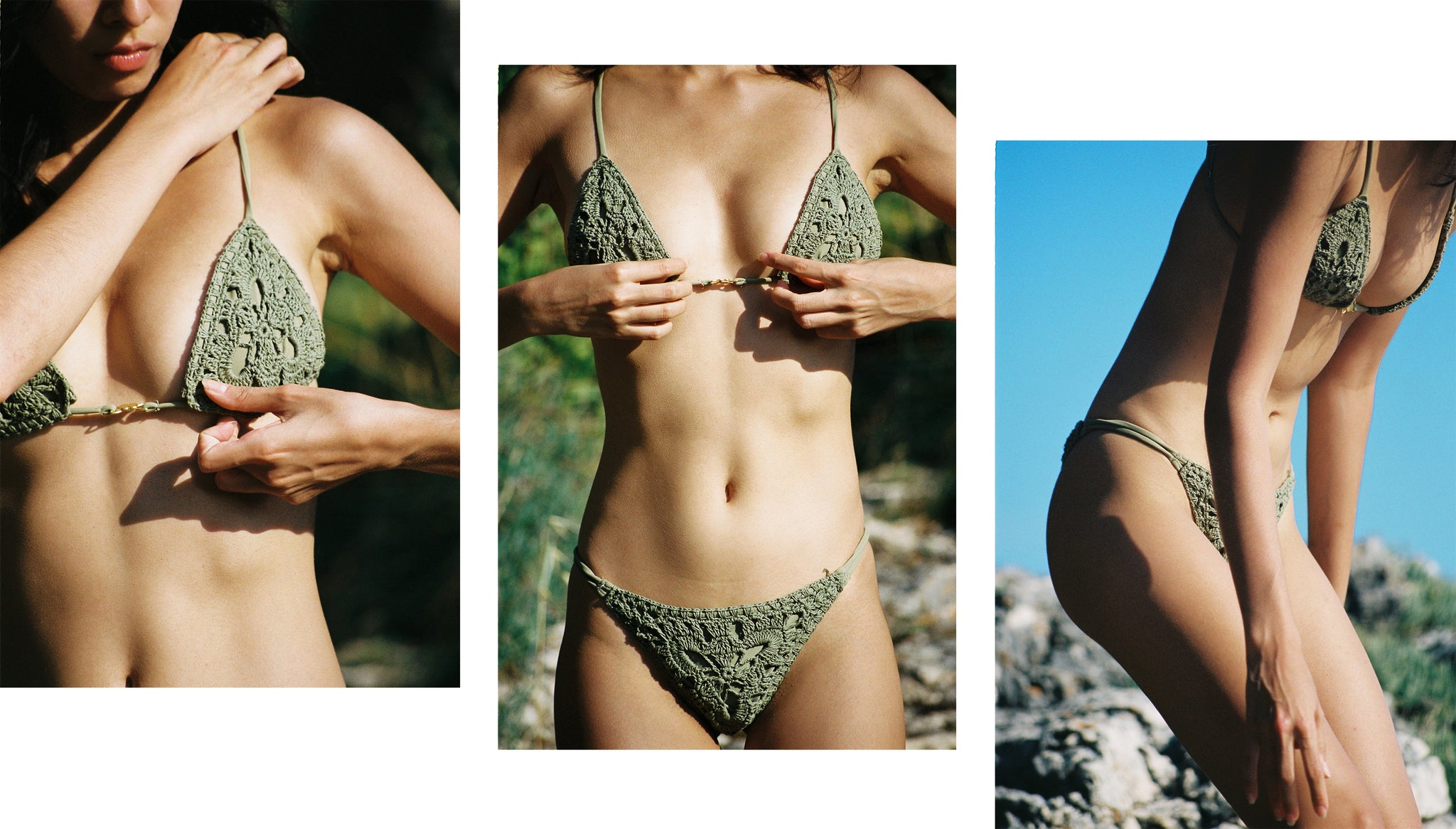 Velzy Top-Velzy Bottom- Olive Crochet- Swim