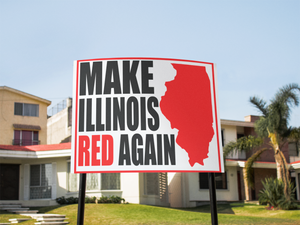 "Make Illinois Red Yard Sign 24""x18"""