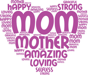Mom word cloud sublimation print