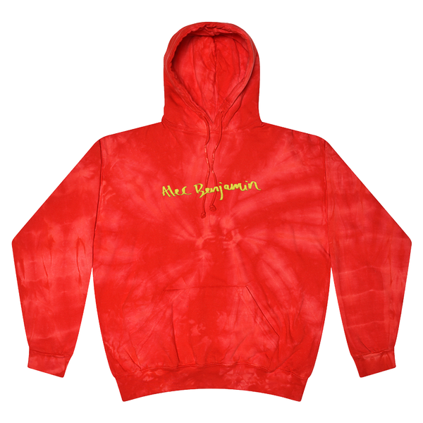 Red Embroidered Tie Dye Hoodie