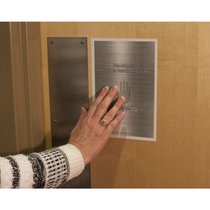Self cleaning door push pad preventing the spread of coronavirus, MRSA, eColi, & SARS