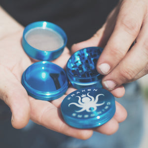 Kraken Grinders - Blue 4 Piece Grinder for Cannabis