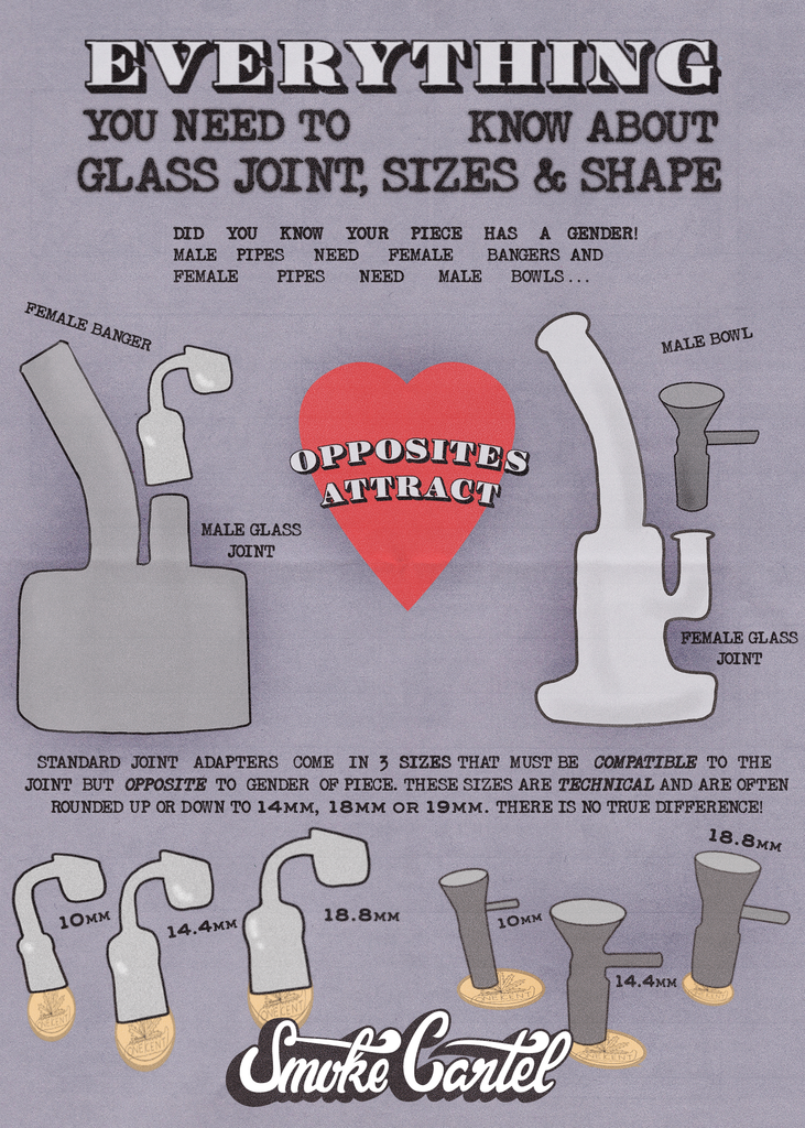 Everything you need to know about bong and rig glass joint sizes, shapes, and genders