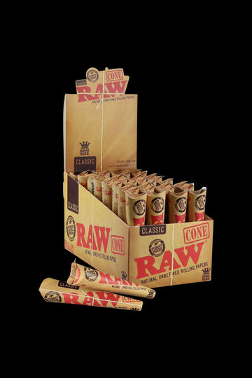 RAW Kingsize Unrefined Cone Papers - 32 Pack (96 Total Cones)