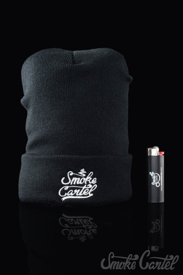Smoke Cartel Black Cuff Beanie with Embroidered Logo - Smoke Cartel - - Smoke Cartel Black Cuff Beanie with Embroidered Logo