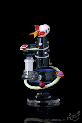 Empire Glassworks Rocket Ship Worked Mini Rig with Dichroic Accents