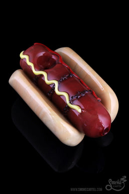 "Empire Glassworks ""Frankburner"" Hot Dog Hand Pipe"