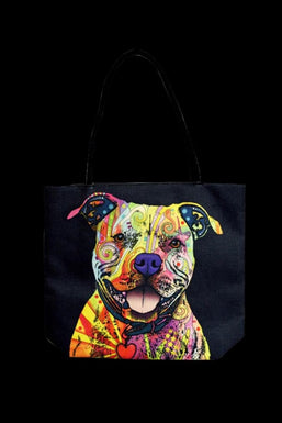 """Trippy Pittie"" Jute Rope Handled Tote Bag"