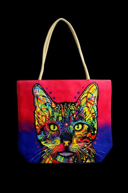 """Psychedelic Cat"" Jute Rope Handled Tote Bag"