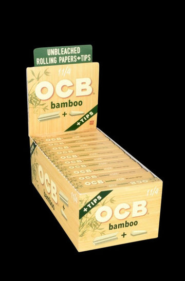 1 1/4 - OCB Bamboo Rolling Papers with Tips - 24 Pack