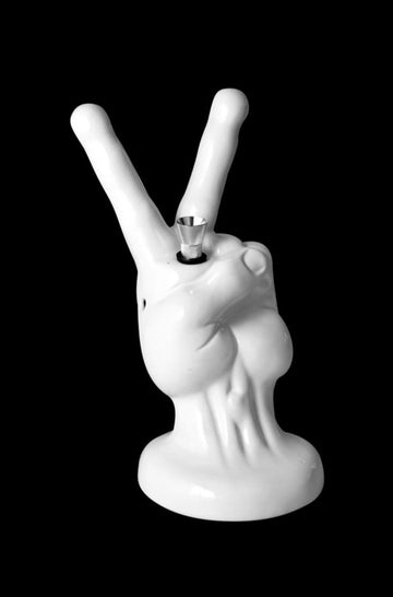 """Peace Sign Hand"" White Ceramic Water Pipe"