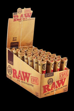 "RAW Natural 1 ¼"" Unrefined Pre Rolled Cones - 32 Pack"