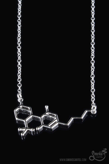 Close-up of Silver Pendant - Smoke Cartel THC Molecule Necklace