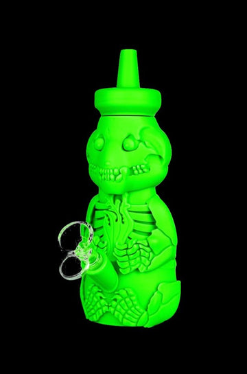 Silicone Honey Bear Skeleton Bubbler Water Pipe