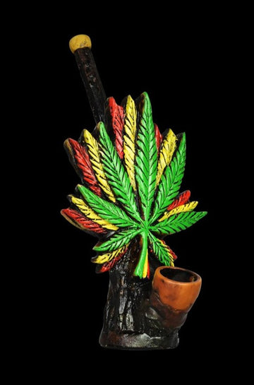 Triple Rasta Leaf Handcrafted Pipe