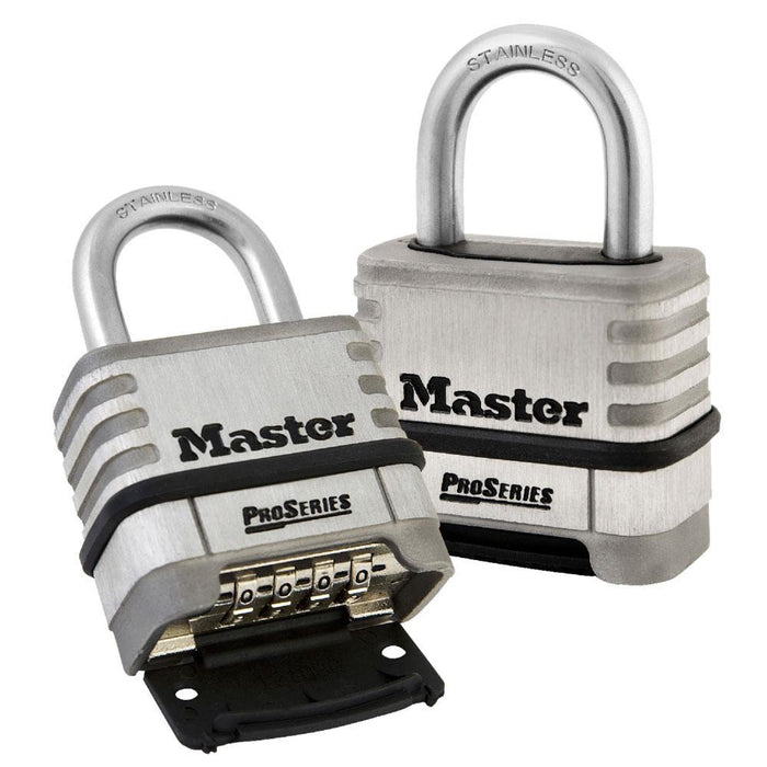 Master Lock 1174 ProSeries® Stainless Steel Resettable Combination Padlock 2-1/4in (57mm) Wide-Keyed-LockPeople.com