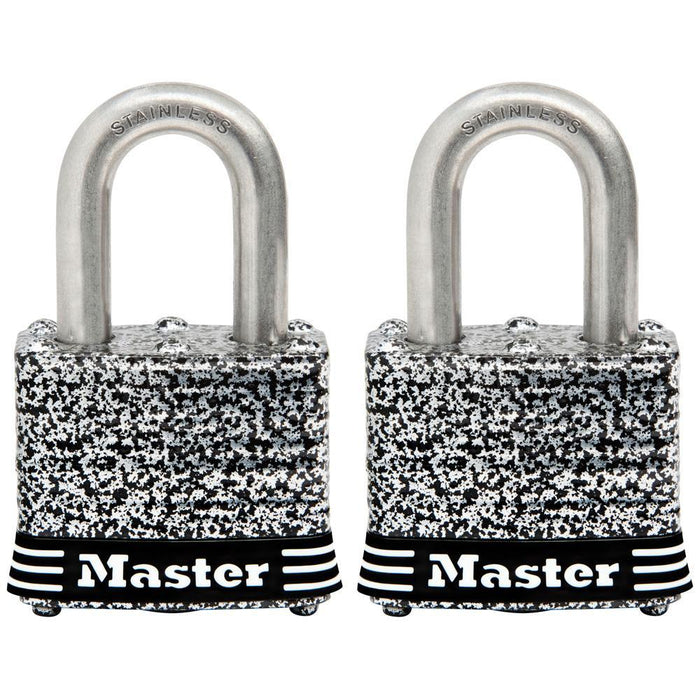 Master Lock 3SST Laminated Stainless Steel Padlock; 2 Pack 1-9/16in (40mm) Wide