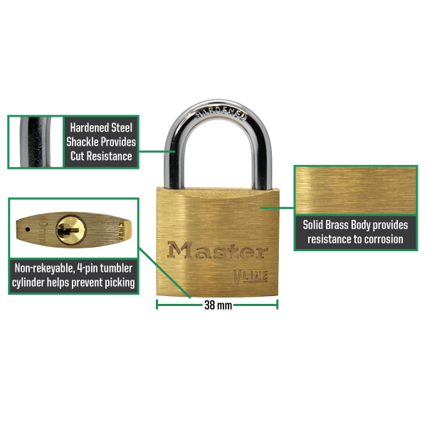 Master Lock 4140 V-Line Brass Padlock 1-1/2in (38mm) Wide-Keyed-LockPeople.com