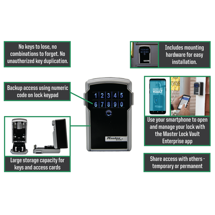 Master Lock 5441ENT Bluetooth® Wall-Mount Lock Box for Business Applications