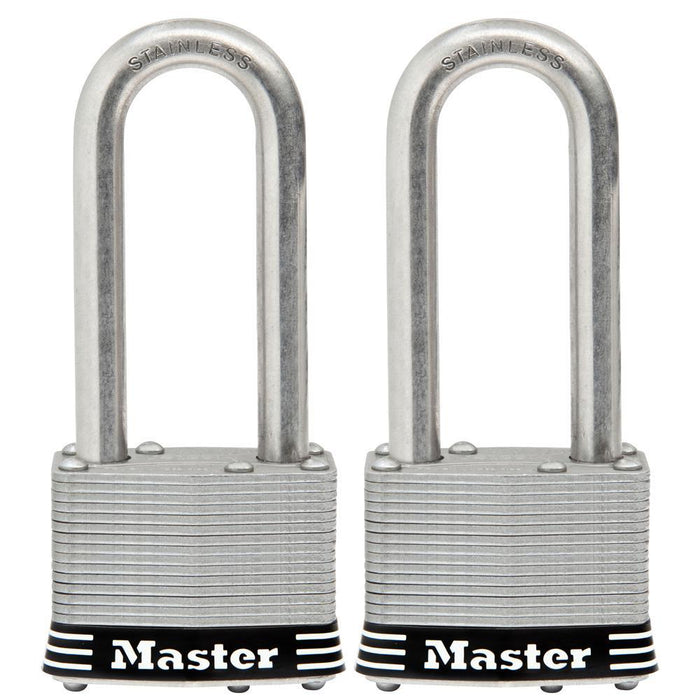 Master Lock 5SST 2in (51mm) Wide Laminated Stainless Steel Padlock with 2-1/2in (64mm) Shackle; 2 Pack-Keyed-LockPeople.com