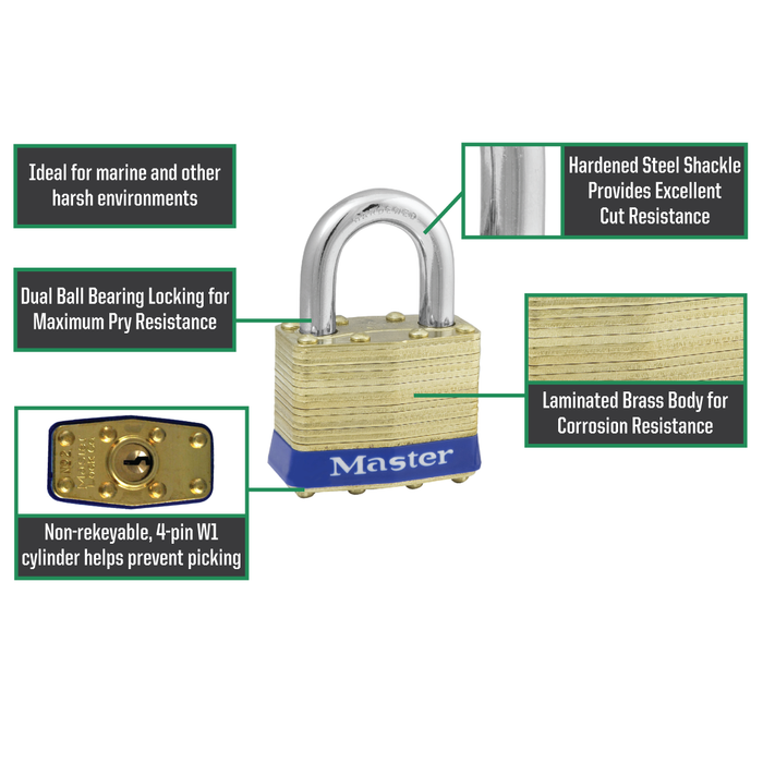 Master Lock 2B Laminated Brass Padlock with Brass Shackle  1-3/4in (44mm) wide
