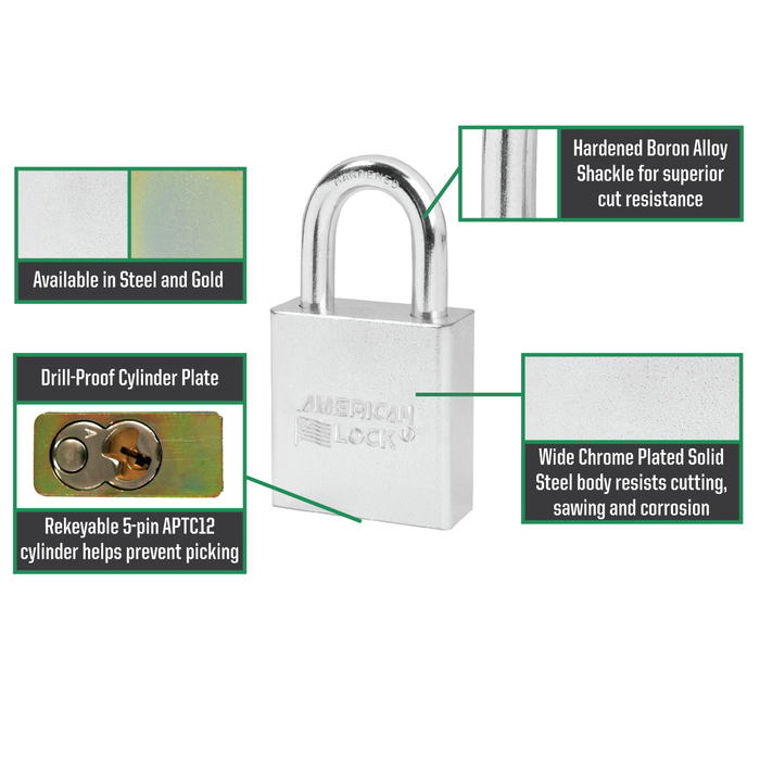 American Lock A5200 Solid Steel Rekeyable Padlock 1-3/4in (44mm) Wide-Keyed-LockPeople.com