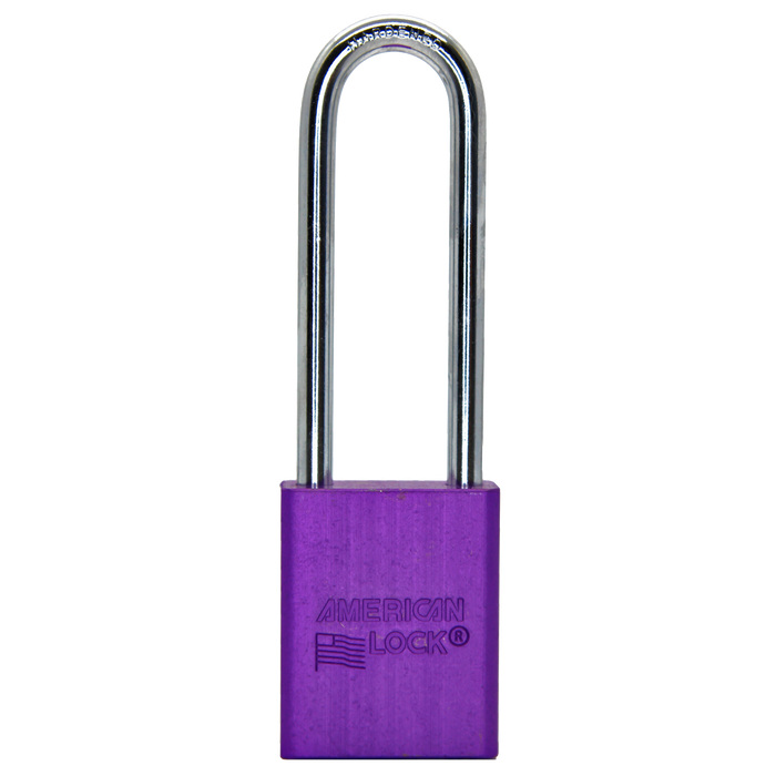 American Lock A1107 Anodized Aluminum Safety Padlock, 1-1/2in (38mm) Wide with 3in (76mm) Tall Shackle