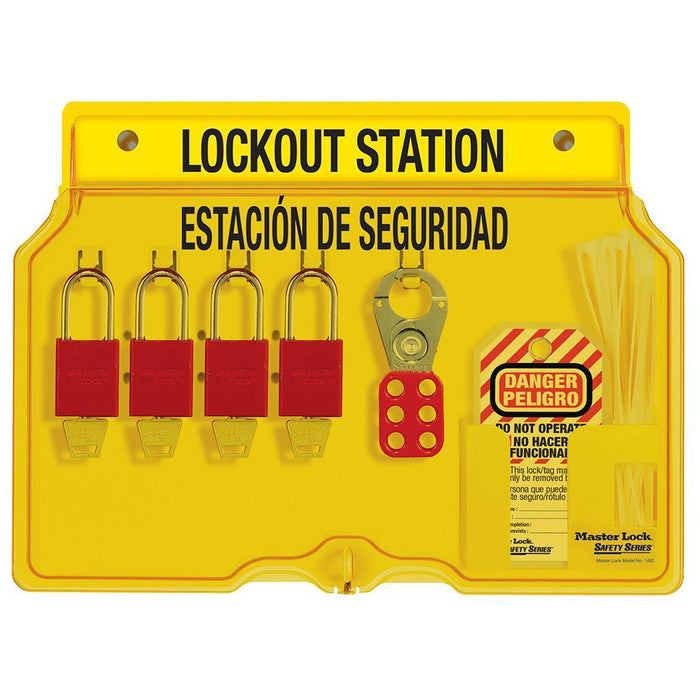 Master Lock 1482BP1106ES 4-Lock Padlock Station, English/Spanish, Anodized Aluminum Padlocks