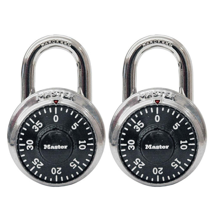 Master Lock 1500T Combination Dial Padlock; 2 Pack 1-7/8in (48mm) Wide-Combination-LockPeople.com