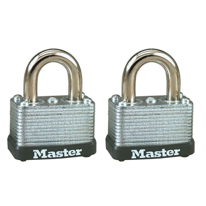 Master Lock 22T Laminated Steel Warded Padlock; 2 Pack 1-1/2in (38mm) Wide-Keyed-LockPeople.com