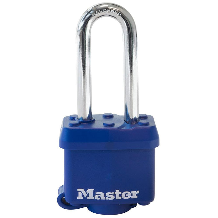 Master Lock 312D 1-9/16in (40mm) Wide Covered Laminated Steel Padlock with 2in (51mm) Shackle; Blue-Keyed-LockPeople.com