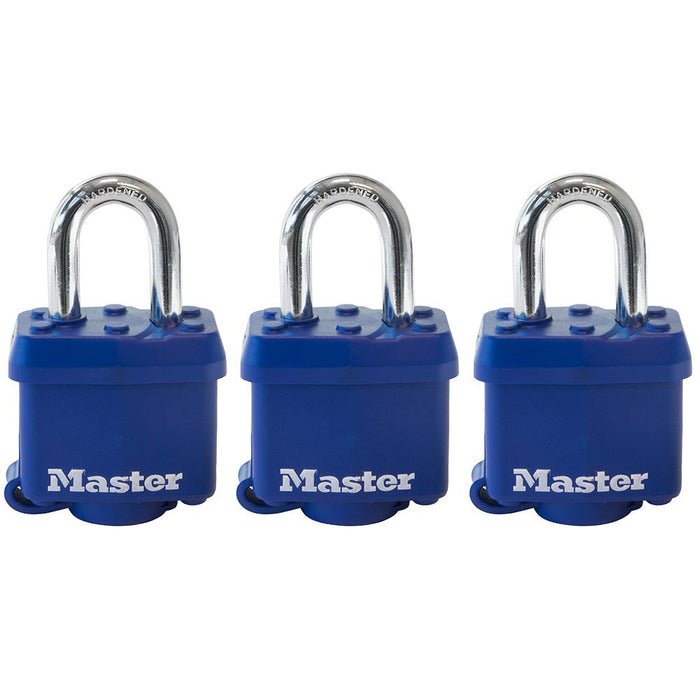 Master Lock 312TRI Covered Laminated Steel Padlock; Blue; 3 Pack 1-9/16in (40mm) Wide-Keyed-LockPeople.com