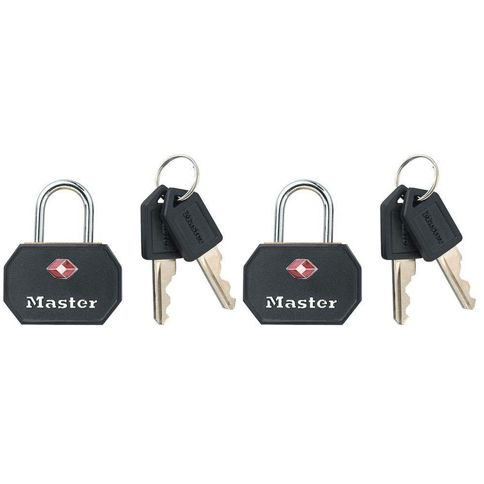 Master Lock 4681T Solid Metal TSA-Accepted Luggage Lock; Black; 2 Pack 1-1/4in (32mm) Wide